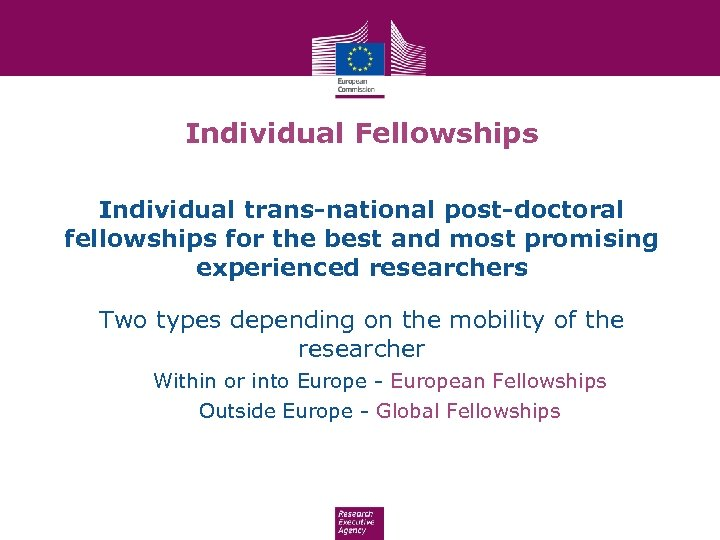 Individual Fellowships Individual trans-national post-doctoral fellowships for the best and most promising experienced researchers