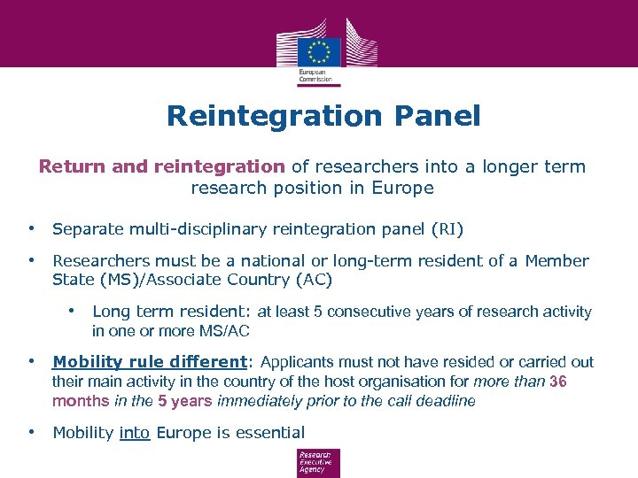 Reintegration Panel Return and reintegration of researchers into a longer term research position in