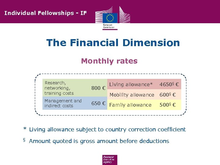Individual Fellowships - IF The Financial Dimension Monthly rates Research, networking, training costs 800