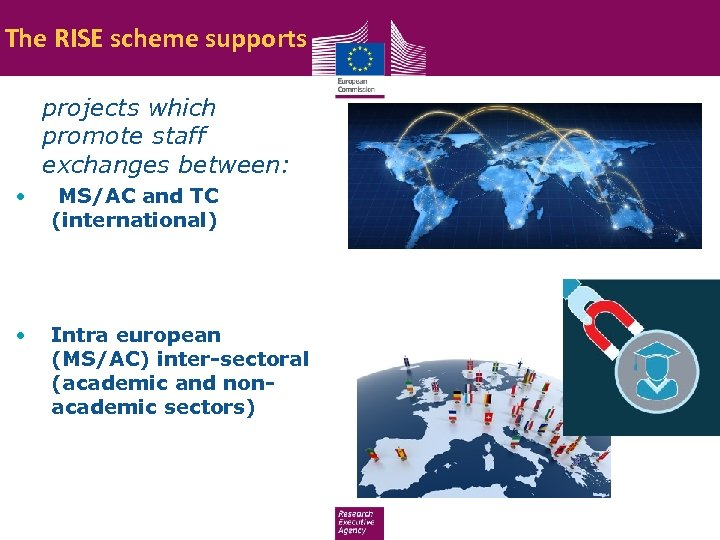 The RISE scheme supports • projects which promote staff exchanges between: • MS/AC and