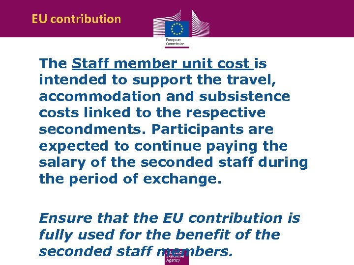 EU contribution The Staff member unit cost is intended to support the travel, accommodation