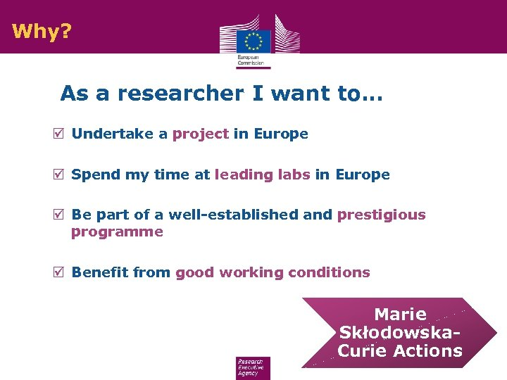 Why? As a researcher I want to… þ Undertake a project in Europe þ