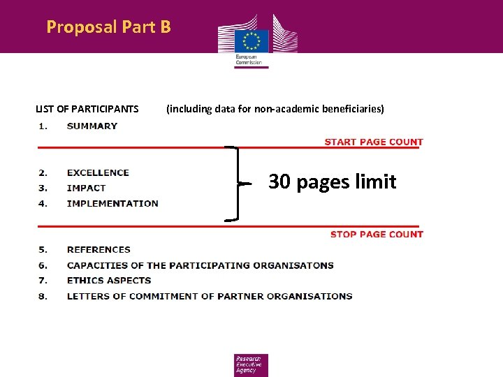 Proposal Part B LIST OF PARTICIPANTS (including data for non-academic beneficiaries) 30 pages limit