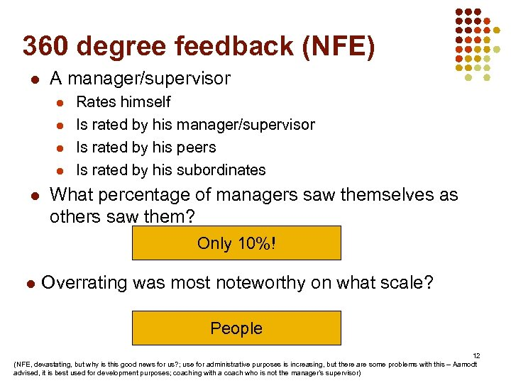 360 degree feedback (NFE) l A manager/supervisor l l l Rates himself Is rated