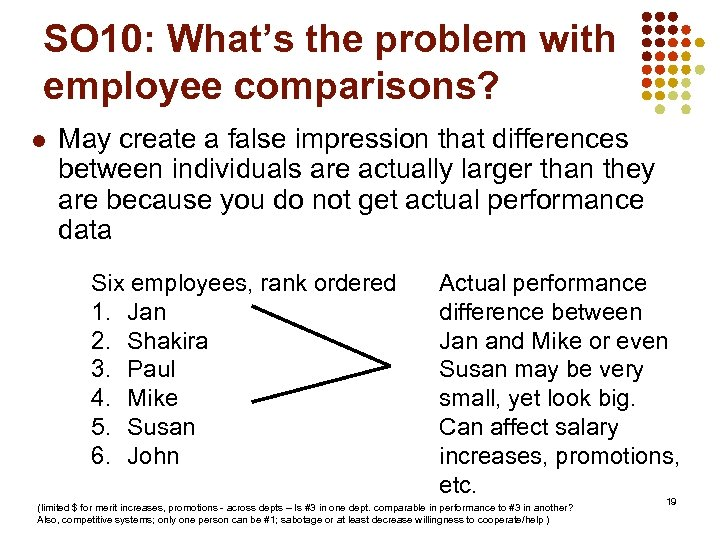 SO 10: What's the problem with employee comparisons? l May create a false impression