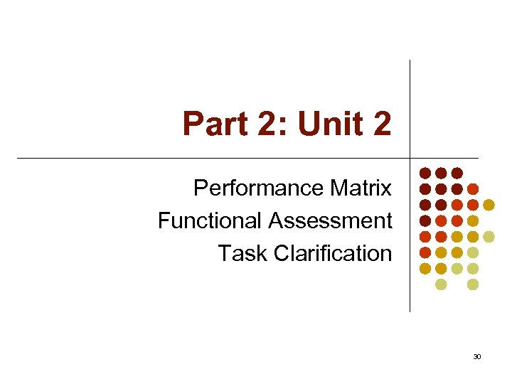 Part 2: Unit 2 Performance Matrix Functional Assessment Task Clarification 30