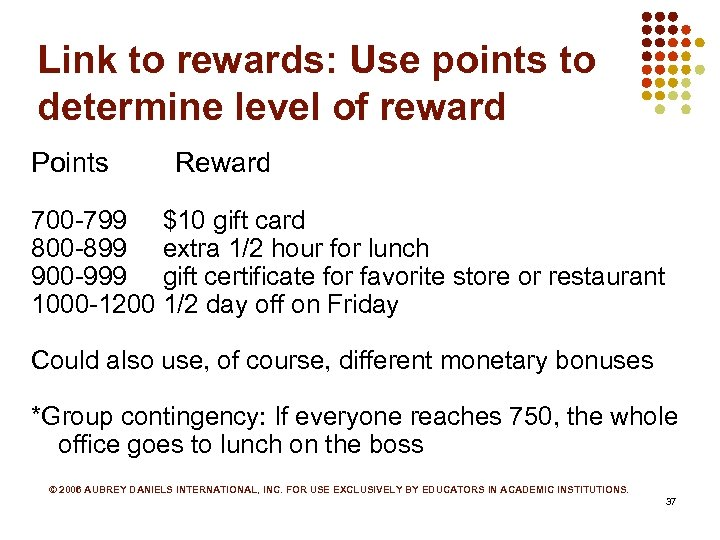 Link to rewards: Use points to determine level of reward Points Reward 700 -799