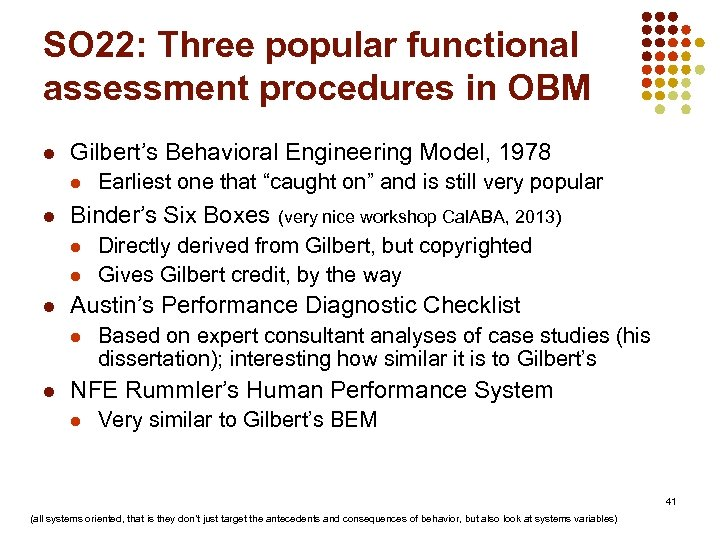 SO 22: Three popular functional assessment procedures in OBM l Gilbert's Behavioral Engineering Model,