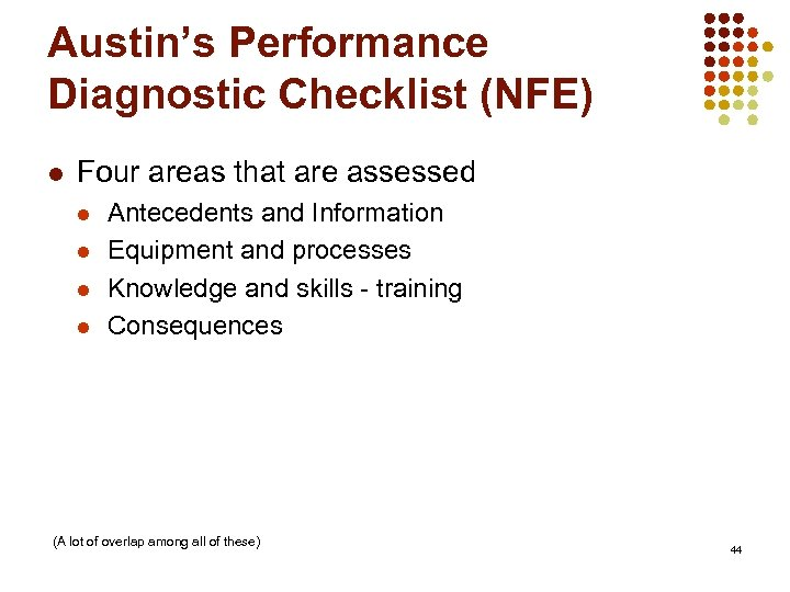 Austin's Performance Diagnostic Checklist (NFE) l Four areas that are assessed l l Antecedents