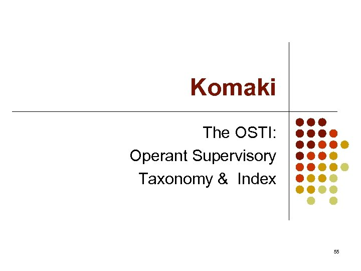 Komaki The OSTI: Operant Supervisory Taxonomy & Index 55