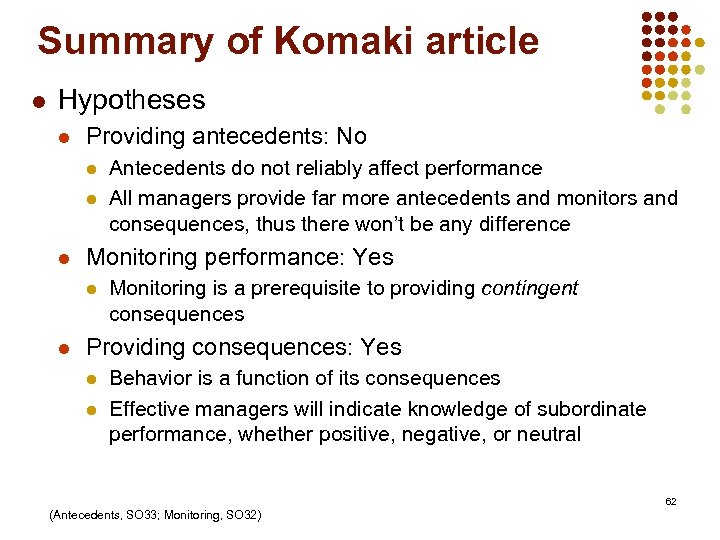Summary of Komaki article l Hypotheses l Providing antecedents: No l l l Monitoring
