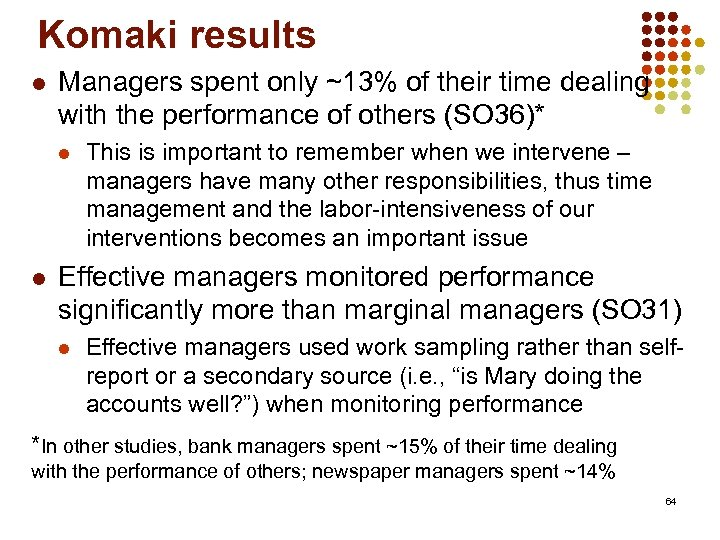 Komaki results l Managers spent only ~13% of their time dealing with the performance