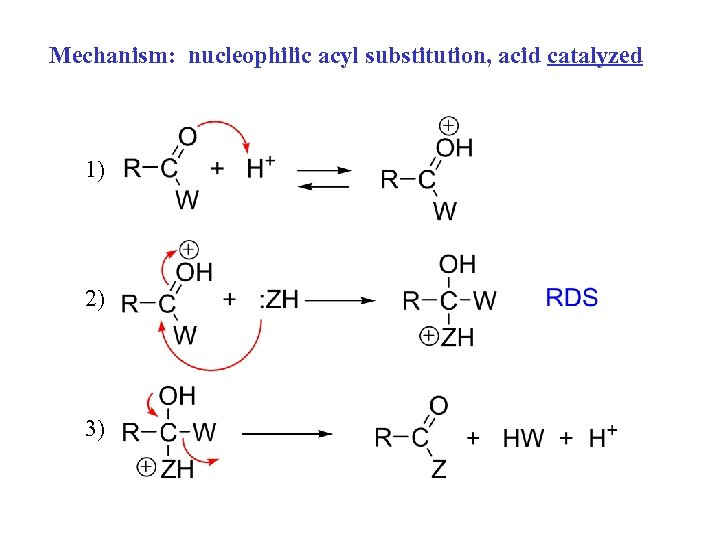 Mechanism: nucleophilic acyl substitution, acid catalyzed 1) 2) 3)
