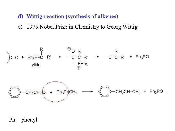 d) Wittig reaction (synthesis of alkenes) e) 1975 Nobel Prize in Chemistry to Georg