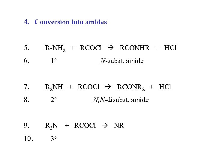 4. Conversion into amides 5. 6. 7. R-NH 2 + RCOCl RCONHR + HCl