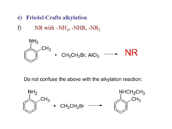 e) Friedel-Crafts alkylation f) NR with –NH 2, -NHR, -NR 2