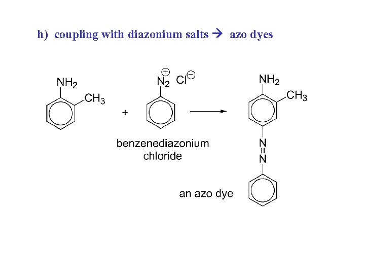 h) coupling with diazonium salts azo dyes