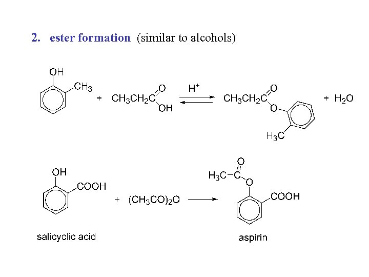 2. ester formation (similar to alcohols)