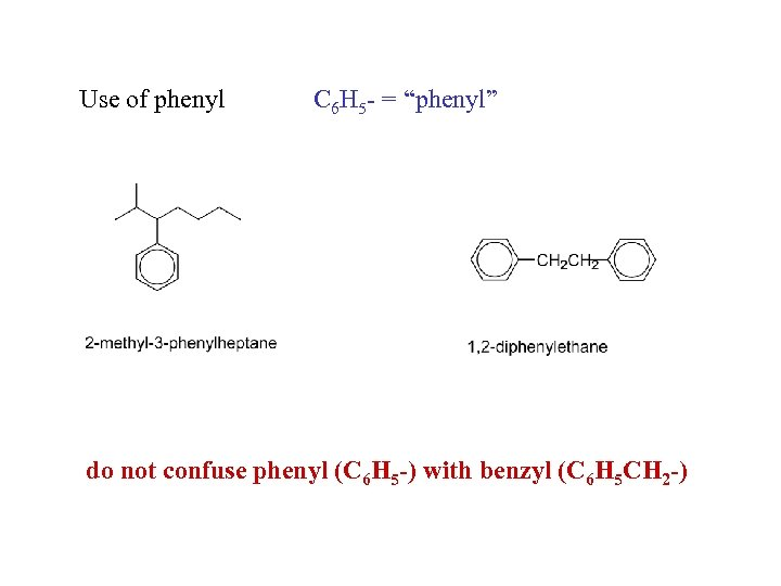 "Use of phenyl C 6 H 5 - = ""phenyl"" do not confuse phenyl"