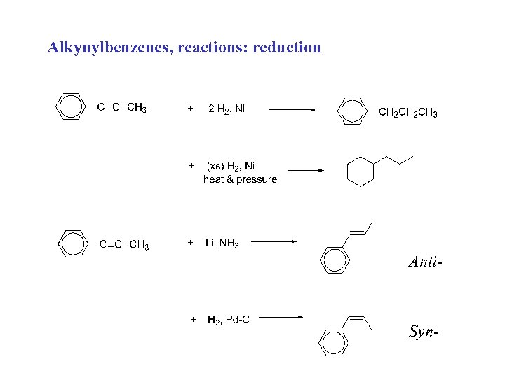 Alkynylbenzenes, reactions: reduction Anti- Syn-
