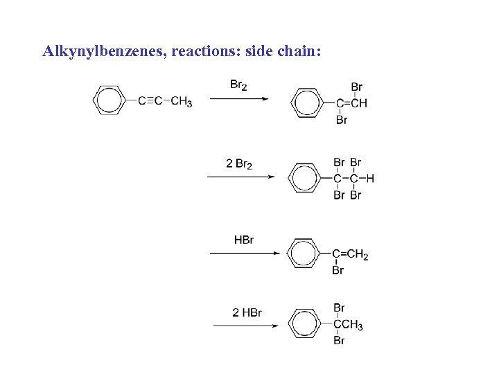 Alkynylbenzenes, reactions: side chain: