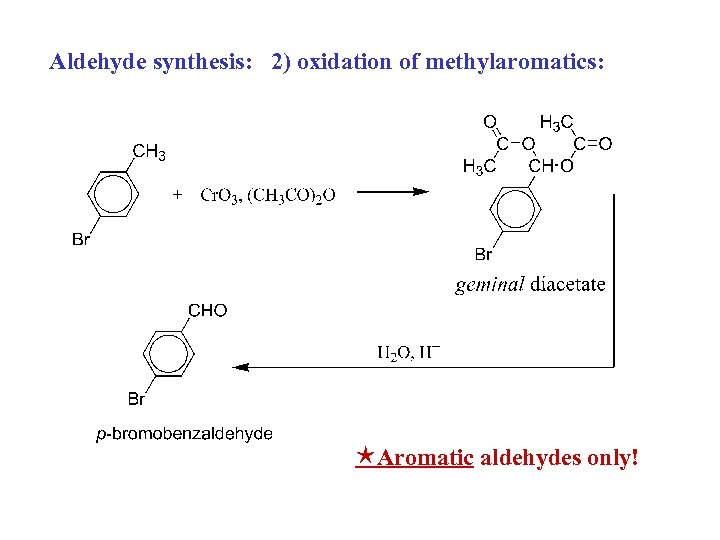 Aldehyde synthesis: 2) oxidation of methylaromatics: Aromatic aldehydes only!