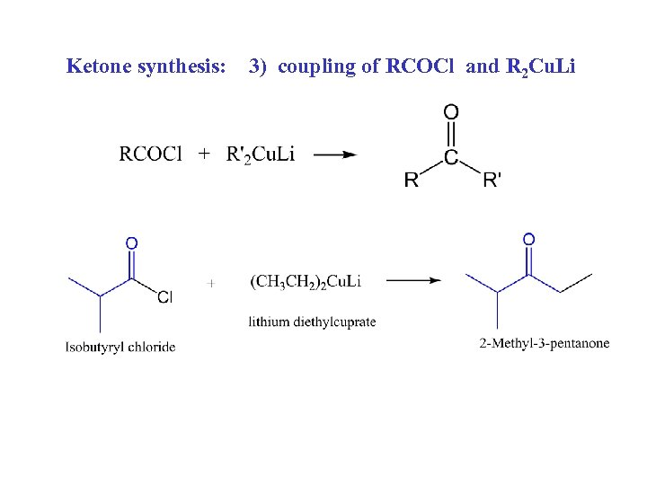 Ketone synthesis: 3) coupling of RCOCl and R 2 Cu. Li