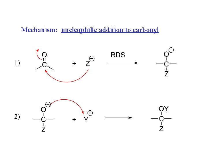 Mechanism: nucleophilic addition to carbonyl 1) 2)
