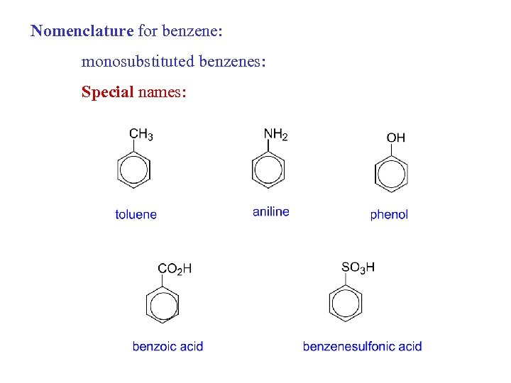 Nomenclature for benzene: monosubstituted benzenes: Special names: