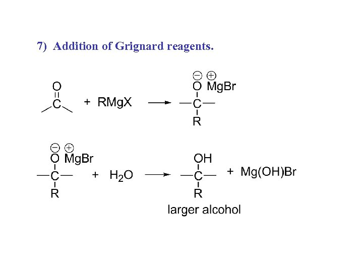 7) Addition of Grignard reagents.