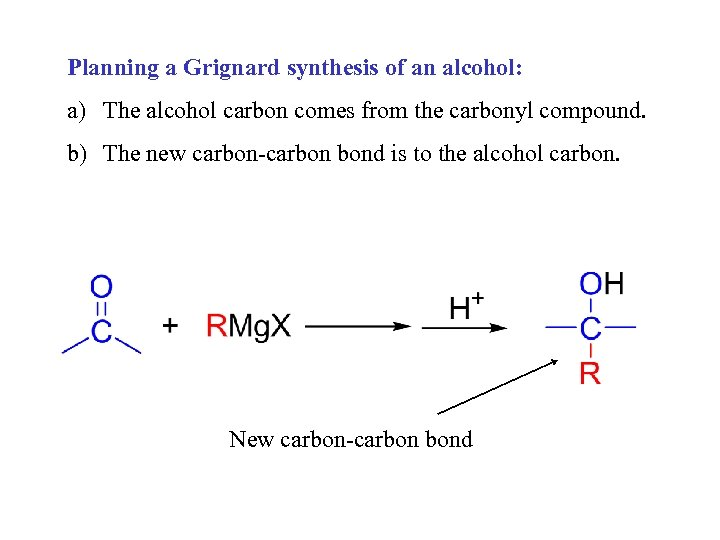Planning a Grignard synthesis of an alcohol: a) The alcohol carbon comes from the