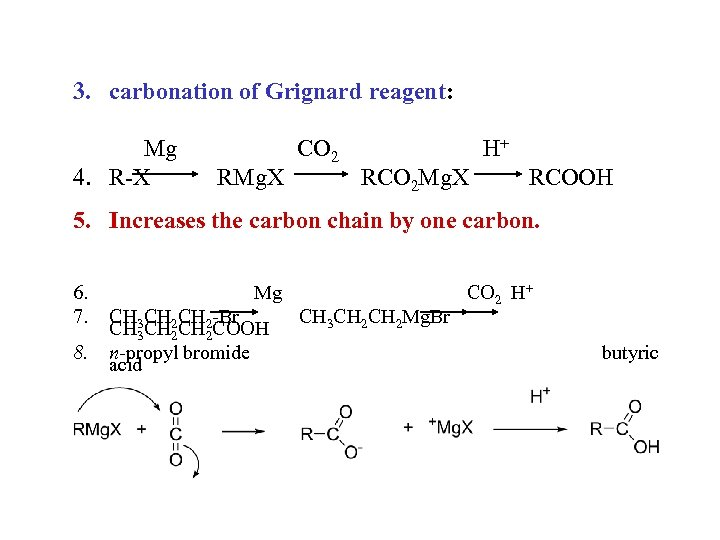 3. carbonation of Grignard reagent: Mg 4. R-X RMg. X CO 2 H+ RCO