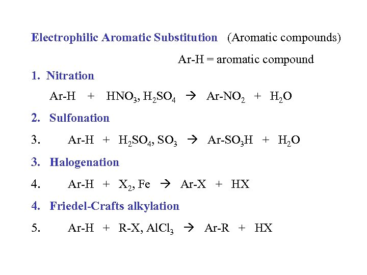 Electrophilic Aromatic Substitution (Aromatic compounds) Ar-H = aromatic compound 1. Nitration Ar-H + HNO