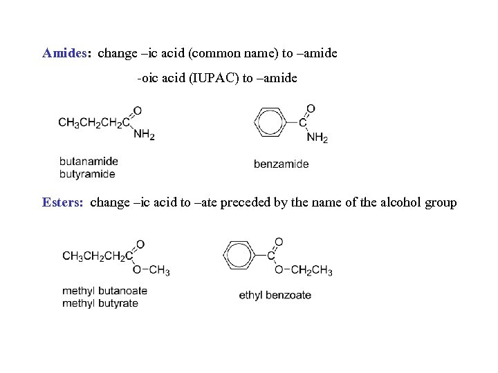 Amides: change –ic acid (common name) to –amide -oic acid (IUPAC) to –amide Esters: