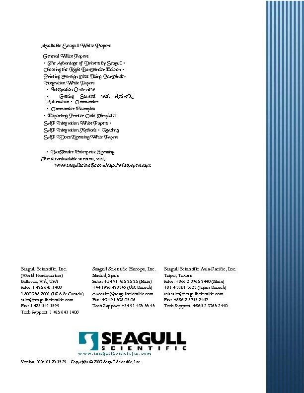 Available Seagull White Papers General White Papers • The Advantage of Drivers by Seagull