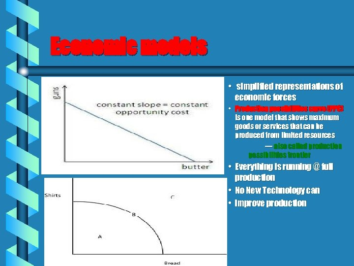 Economic models • simplified representations of economic forces • Production possibilities curve (PPC) is