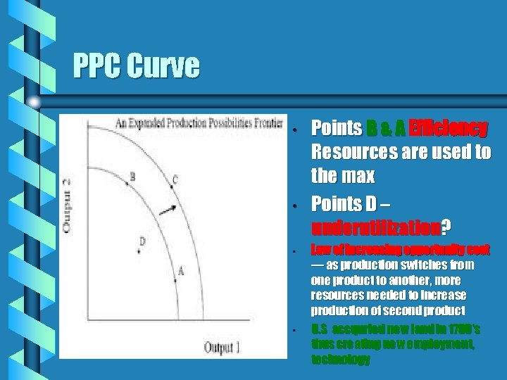 PPC Curve • • Points B & A Efficiency Resources are used to the