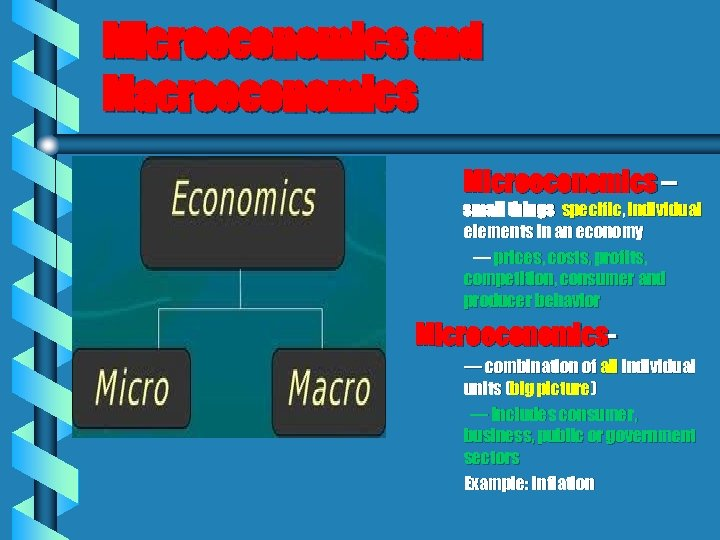Microeconomics and Macroeconomics Microeconomics – small things specific, individual elements in an economy —