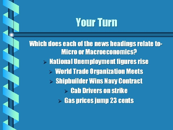 Your Turn Which does each of the news headings relate to. Micro or Macroeconomics?