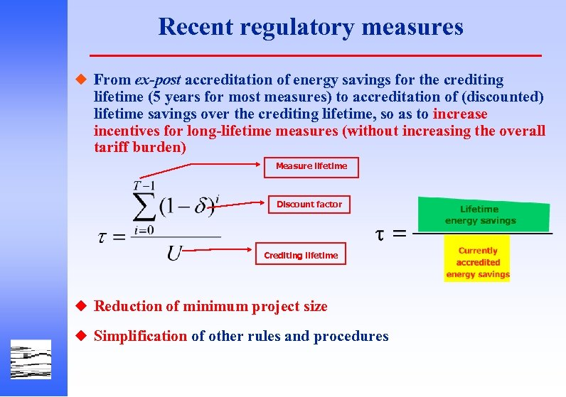 Recent regulatory measures u From ex-post accreditation of energy savings for the crediting lifetime