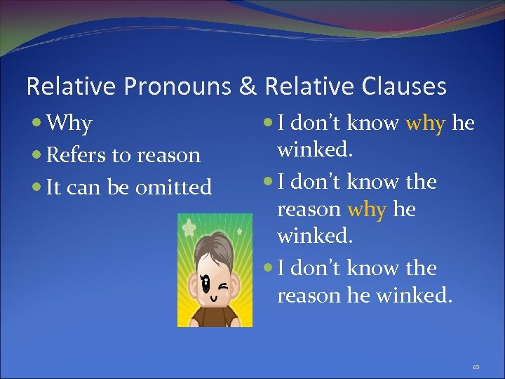 Relative Pronouns & Relative Clauses Why Refers to reason It can be omitted I