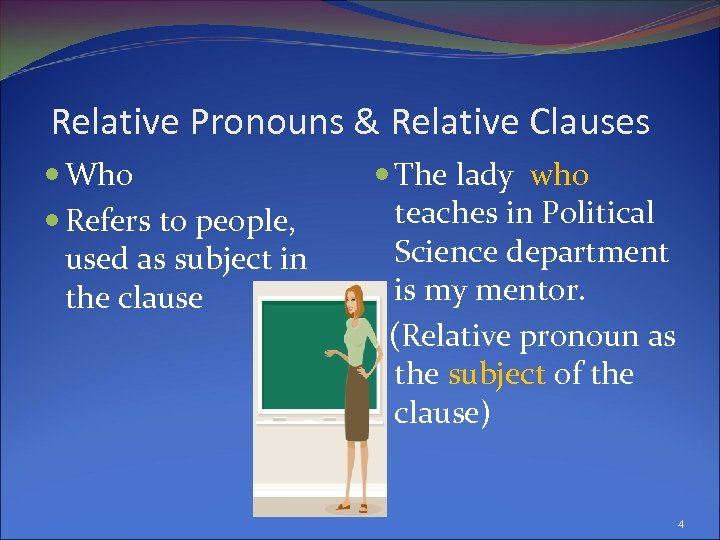 Relative Pronouns & Relative Clauses Who Refers to people, used as subject in the
