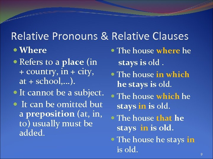 Relative Pronouns & Relative Clauses Where Refers to a place (in + country, in