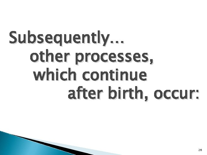 Subsequently… other processes, which continue after birth, occur: 28