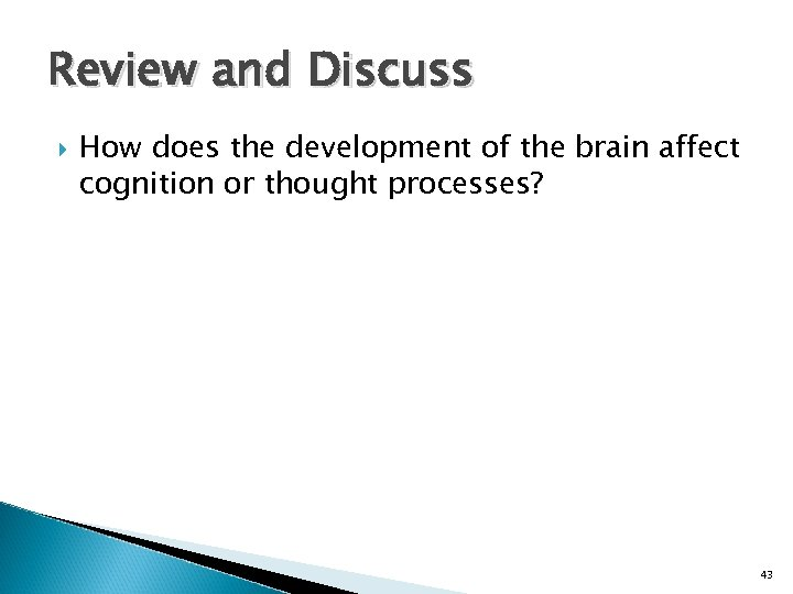 Review and Discuss How does the development of the brain affect cognition or thought