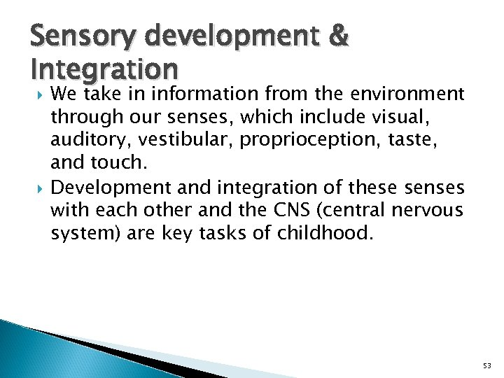 Sensory development & Integration We take in information from the environment through our senses,