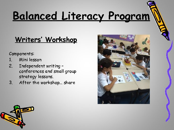 Balanced Literacy Program Writers' Workshop Components: 1. Mini lesson 2. Independent writing – conferences