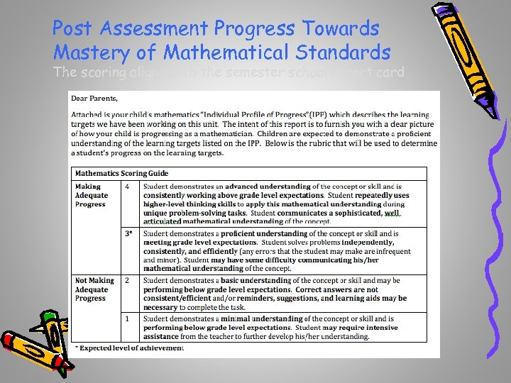 Post Assessment Progress Towards Mastery of Mathematical Standards The scoring aligns with the semester