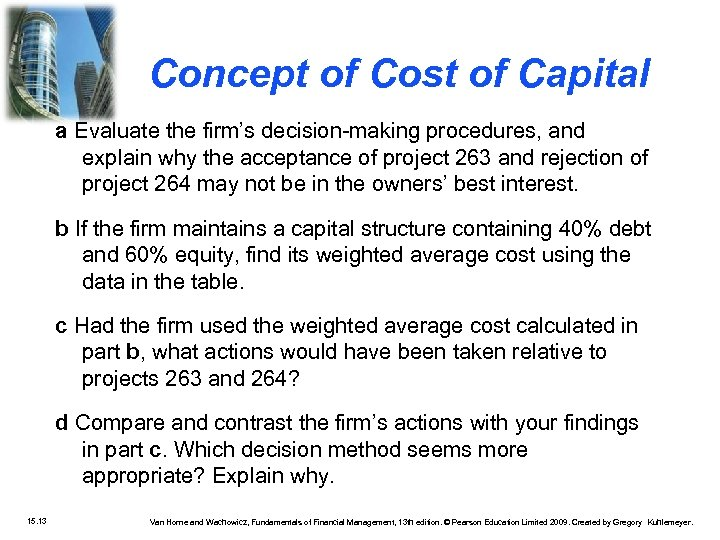Concept of Cost of Capital a Evaluate the firm's decision-making procedures, and explain why