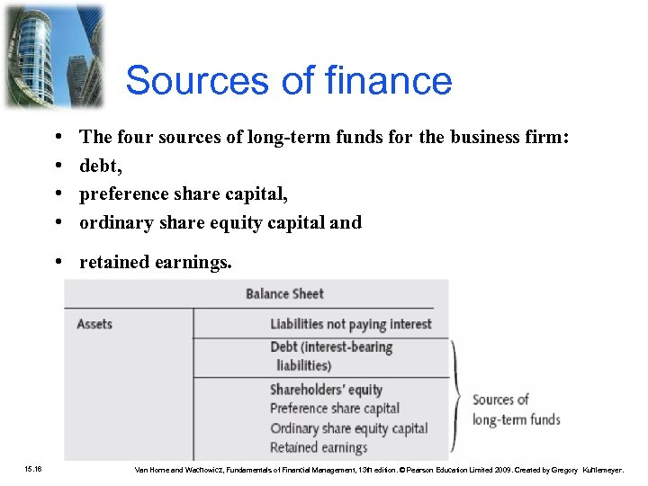 Sources of finance • • The four sources of long-term funds for the business